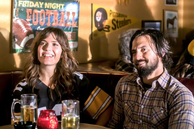 """THIS IS US -- """"The Game Plan"""" Episode 105 -- Pictured: (l-r) Mandy Moore as Rebecca, Milo Ventimiglia as Jack -- (Photo by: Ron Batzdorff/NBC)"""